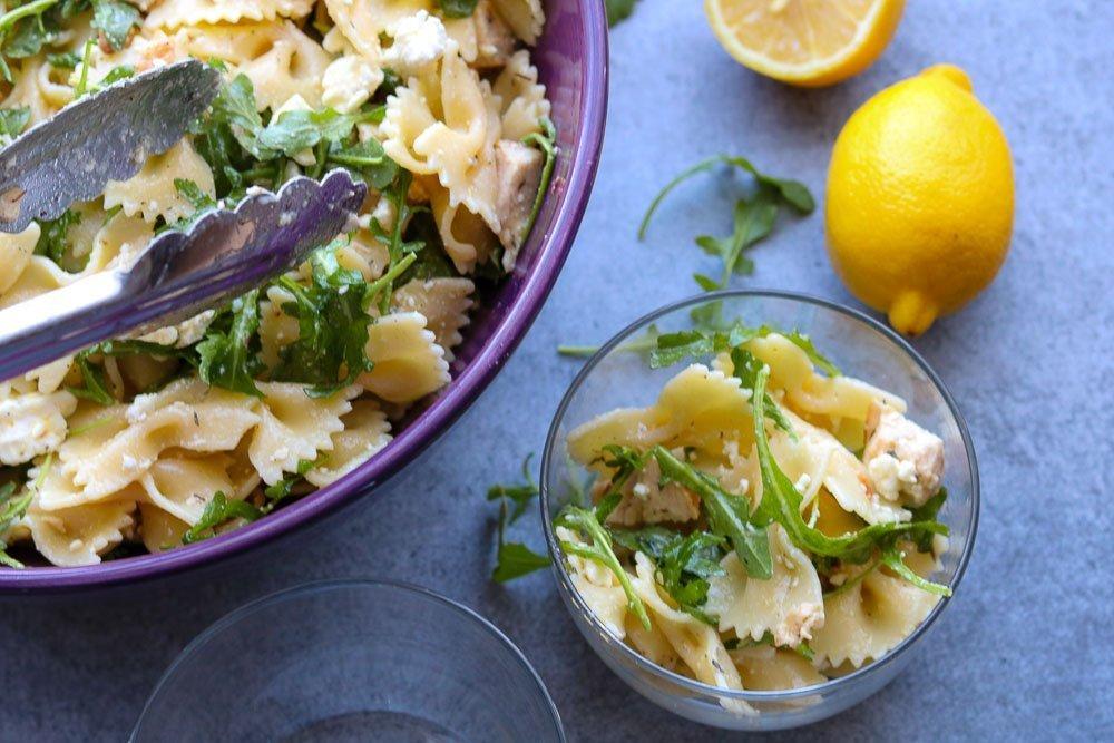 Lemon arugula pasta salad for meal prep
