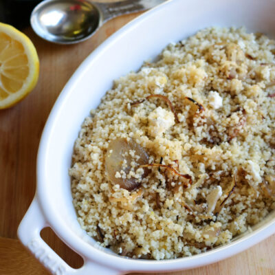 Couscous with caramelized onions and feta