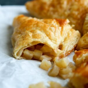 puff pastry with apples on paper