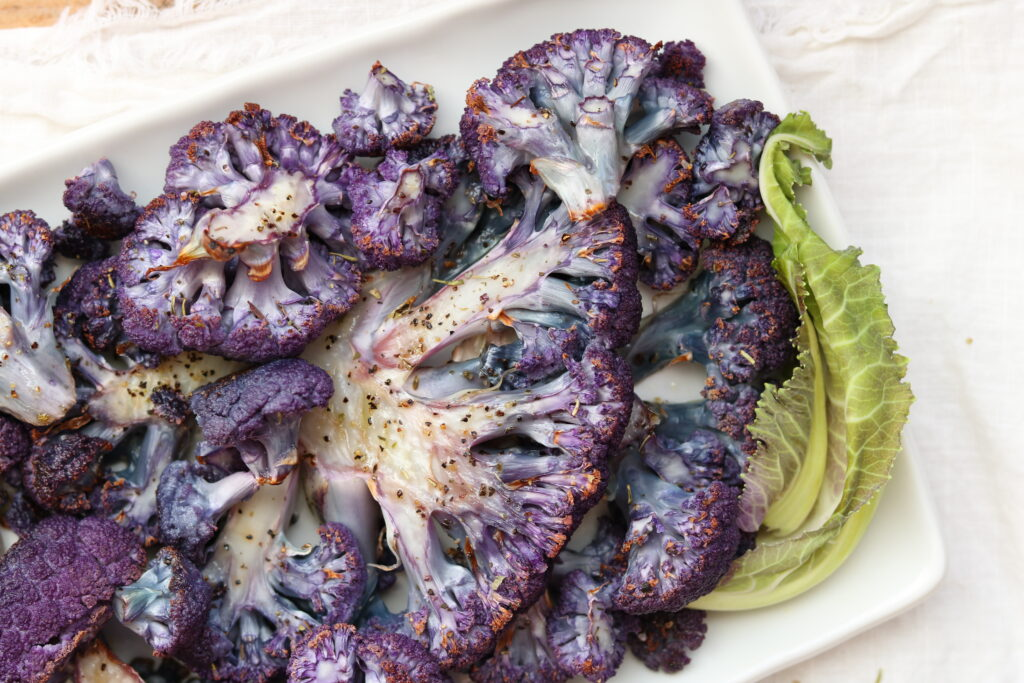 Roasted Purple Cauliflower plated