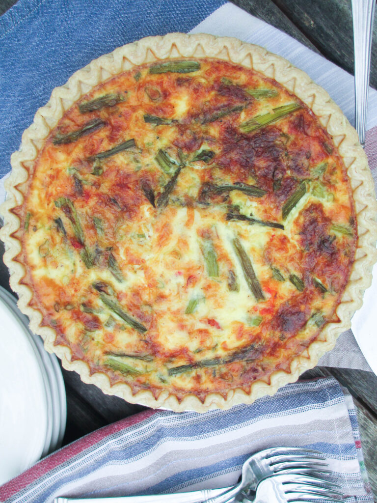 Lobster Asparagus and Gruyere Quiche