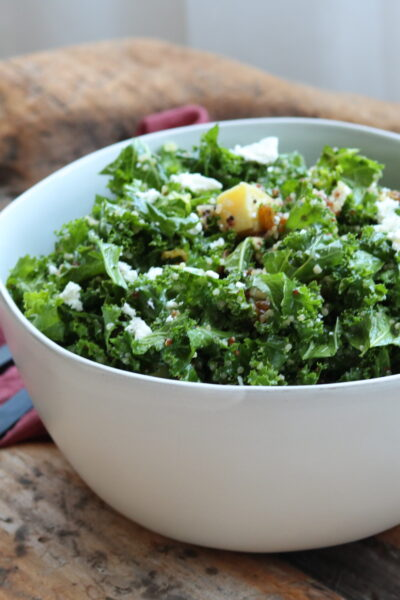sweet kale salad plated