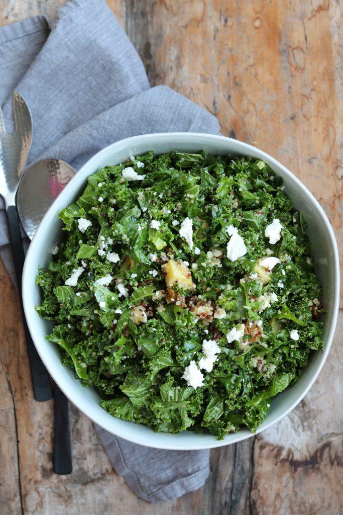Sweet Kale Quinoa Salad with Feta plated