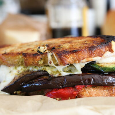 Grilled Vegetable Sandwich with Asiago and Pesto