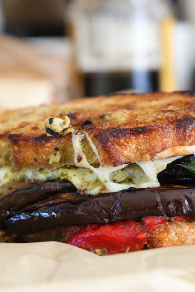 Grilled vegetable sandwich side view