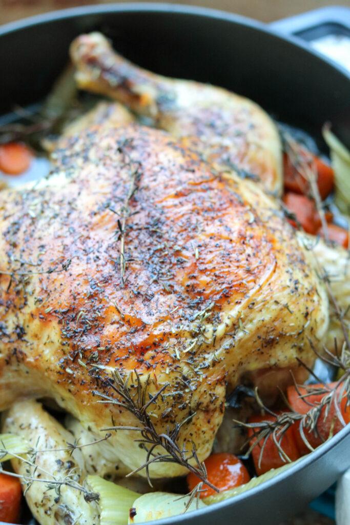 Roast chicken in pan