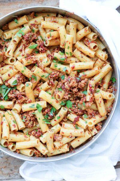 pasta in skillet