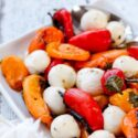 grilled baby peppers and mozzarella