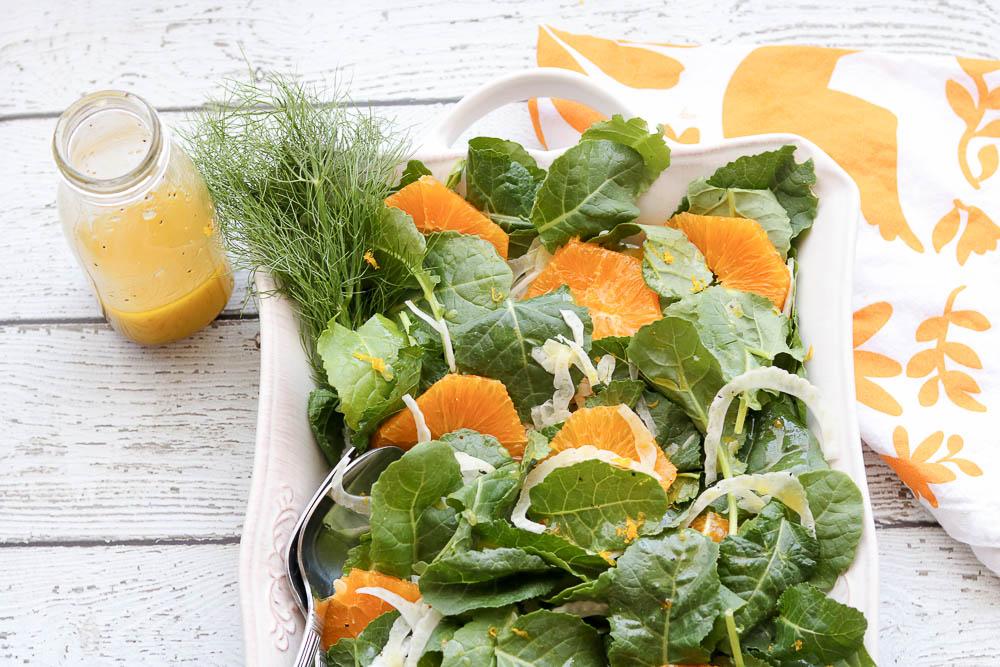 orange fennel salad with orange honey dressing