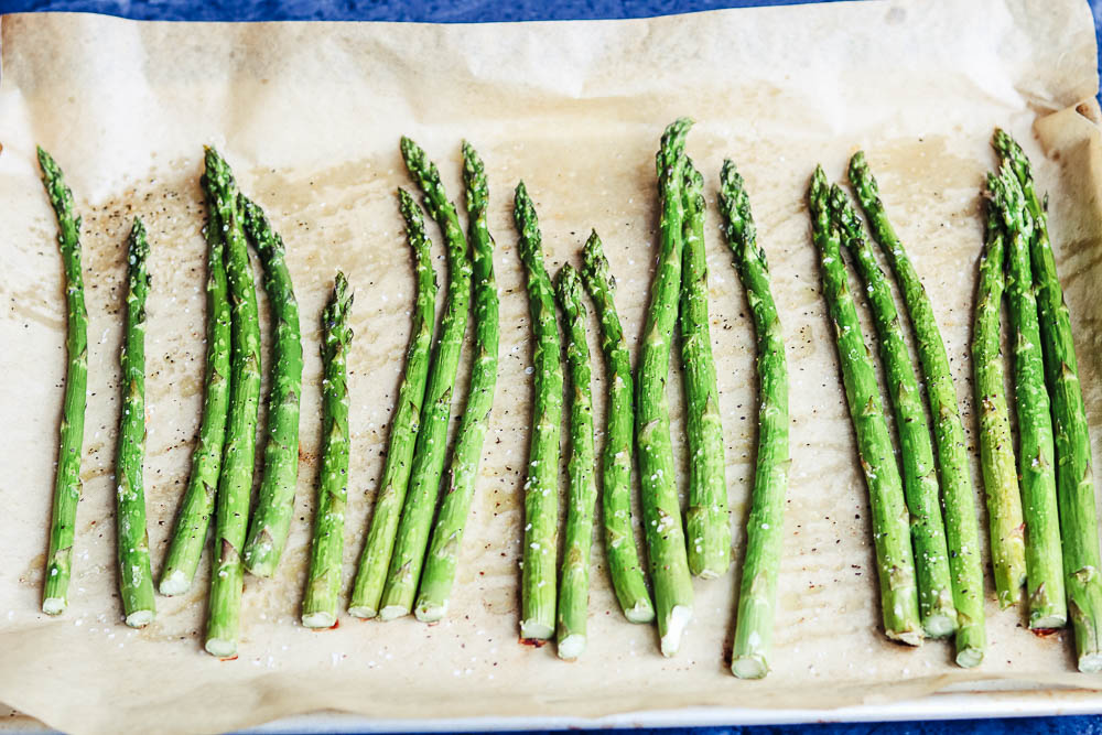 asparagus on tray cooked