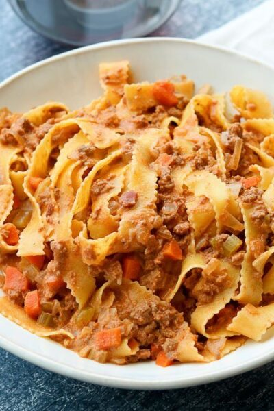 Rich Ragu Bolognese Sauce on plate with napkin