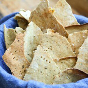 GF rustic crackers in bowl