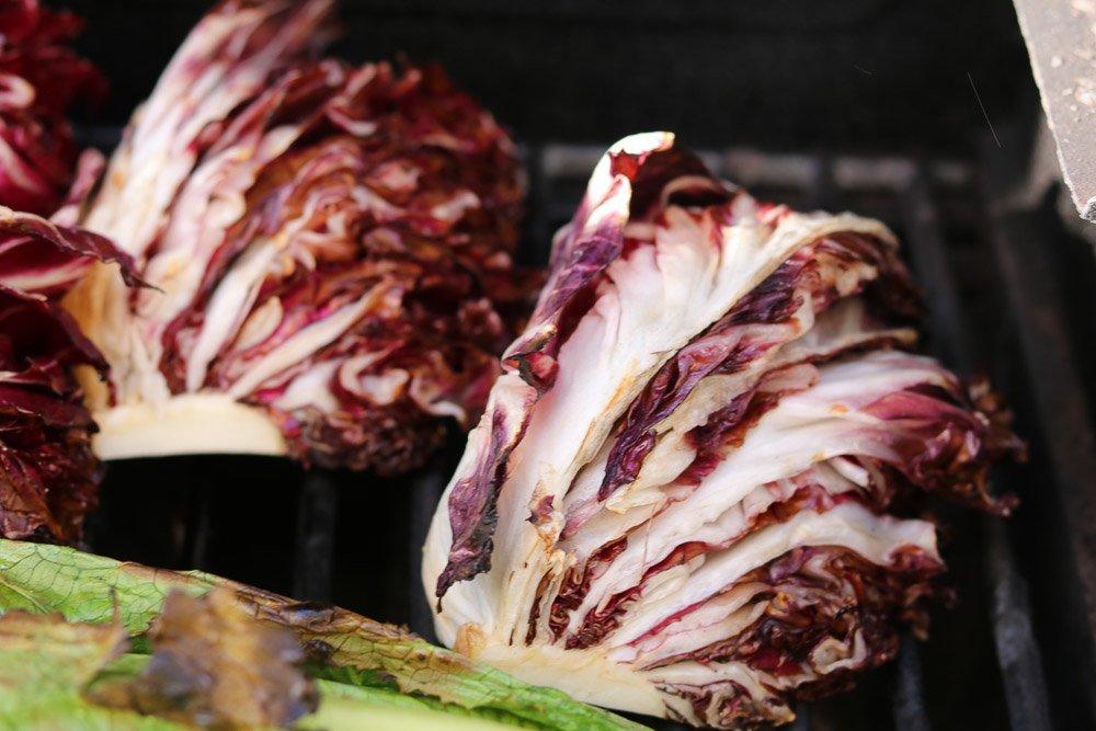 close up of grilled radicchio