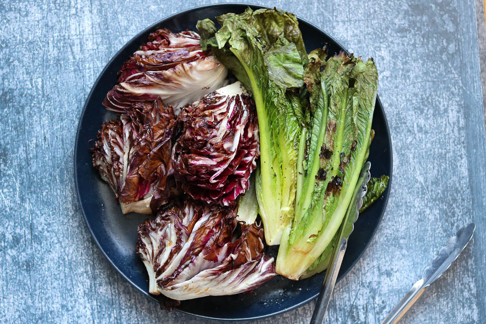 plate of grilled romaine and radicchio