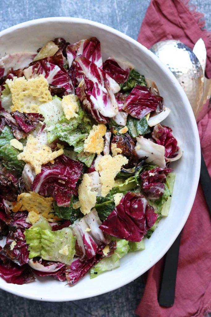 Grilled Romaine and Radicchio Caesar salad plated
