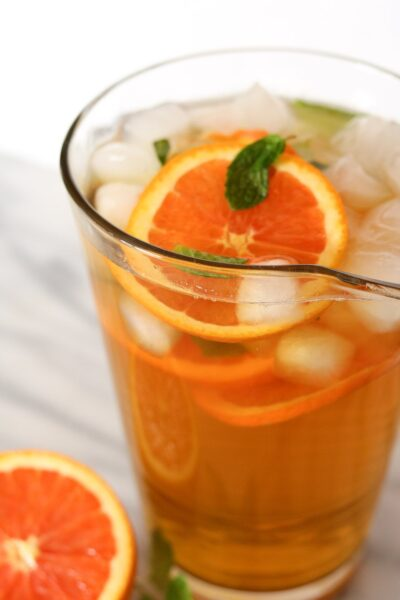 step by step to make honey orange mint green tea