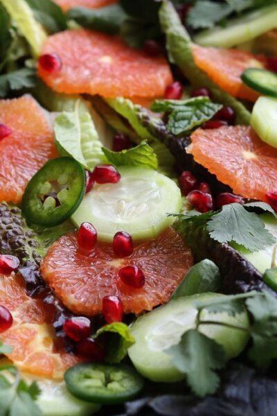 winter citrus salad with orange honey dressing horizontal