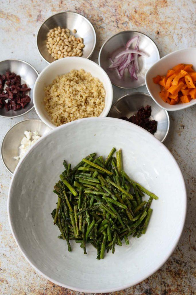 ingredients for warm quinoa salad