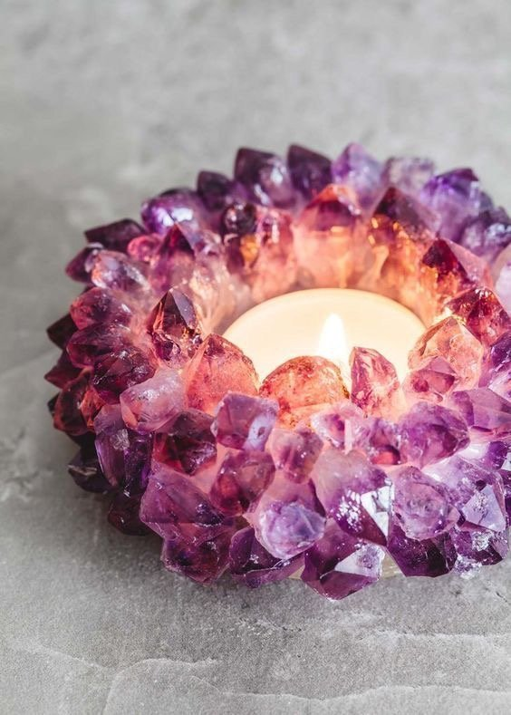 amethyst candle holder with lit candle