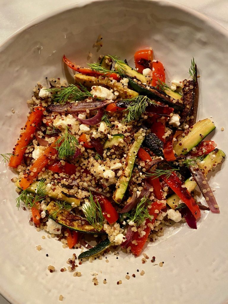 Roasted Vegetable Quinoa with Feta in bowl