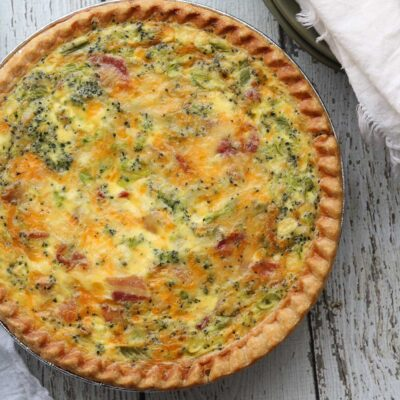Deep Dish Bacon and Broccoli Quiche
