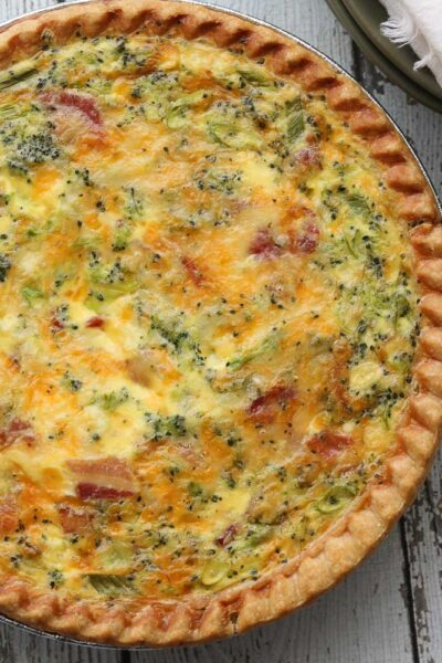 close up of deep dish bacon and broccoli quiche
