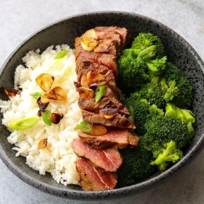 Flat Iron Steak with Lemon, Soy and  Crispy Garlic