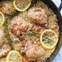 one pan lemon rosemary chicken and rice in pan