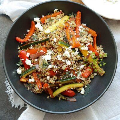 Roasted Vegetable Quinoa with Feta
