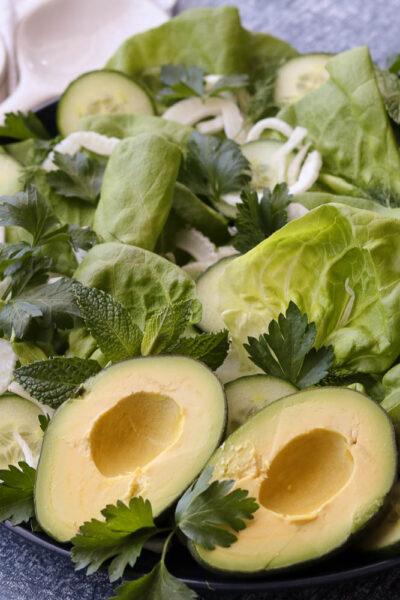 Butter lettuce green salad on platter