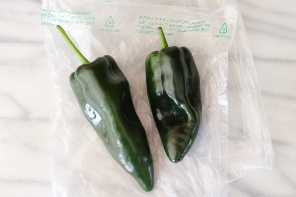 poblano peppers on bag