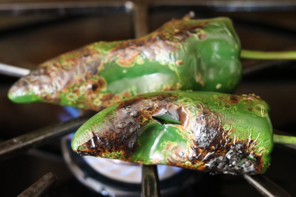 roasting poblanos on stovetop