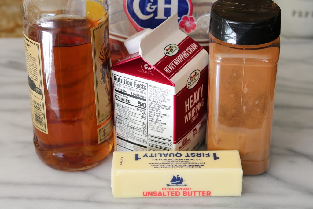 ingredients for spiced rum butter sauce on counter