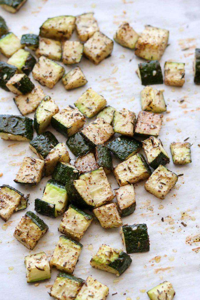 oven roasted zaatar zucchini on baking sheet