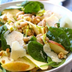 apple spinach white bean salad