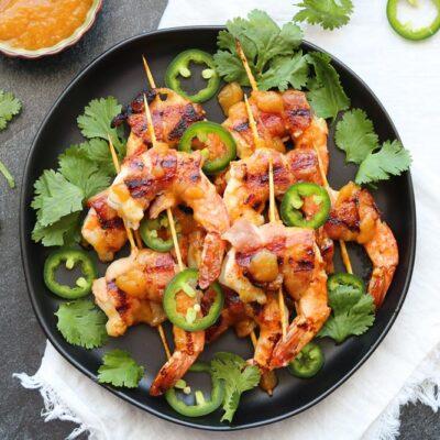 Chutney Glazed Bacon Wrapped Shrimp