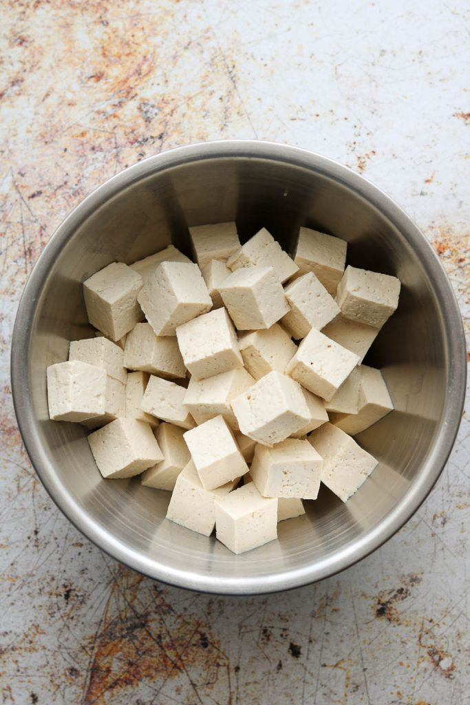 cubed tofu for spicy korean style tofu bowls