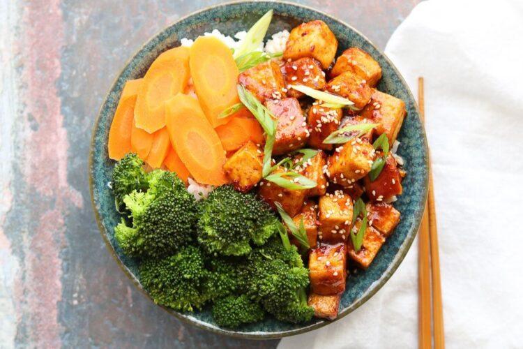 horizontal spicy korean style tofu bowl