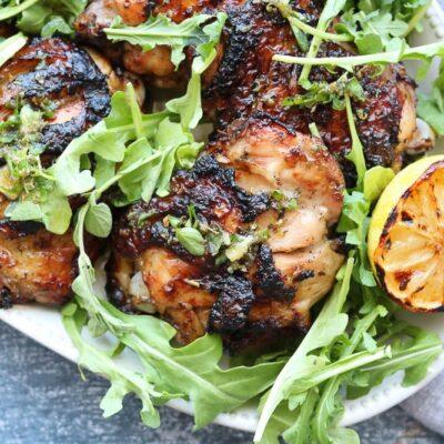 Grilled Lemon Oregano Chicken + Salmoriglio Sauce
