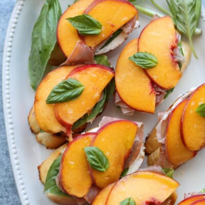 Peach Prosciutto and Mascarpone Crostini