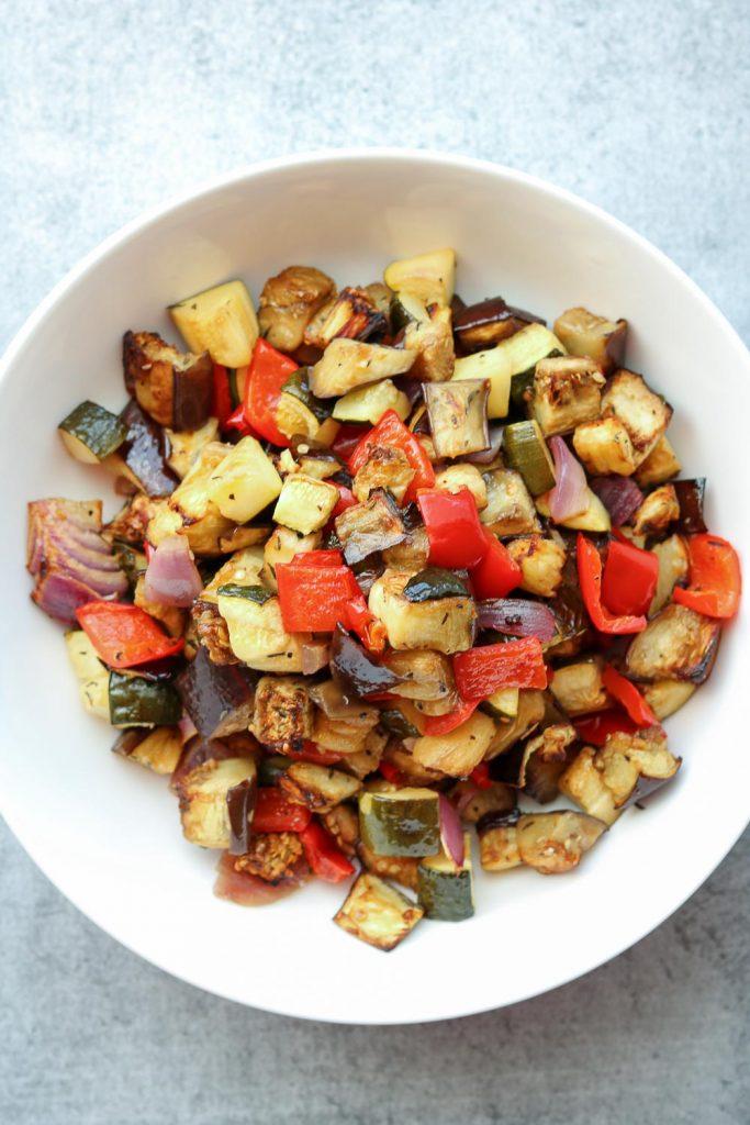 Balsamic roasted vegetables in white bowl