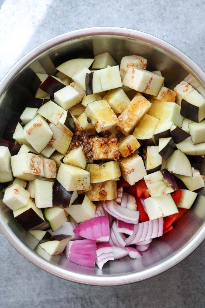 cubed vegetables with olive oil and balsamic vinegar