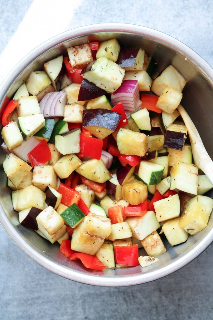 tossed vegetables in bowl