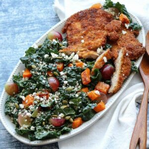 square image chicken schnitzel with kale autumn salad